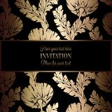 Abstract background with antique, luxury black and gold vintage frame, victorian banner, damask floral wallpaper ornaments. Invitation card, baroque style Stock Images