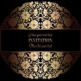 Abstract background with antique, luxury black and gold vintage frame, victorian banner, damask floral wallpaper ornaments. Invitation card, baroque style Stock Photos