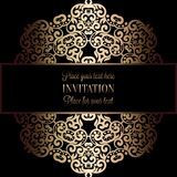 Abstract background with antique, luxury black and gold vintage frame, victorian banner, damask floral wallpaper ornaments,. Invitation card, baroque style Stock Photography
