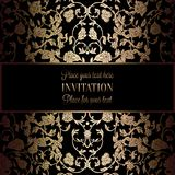 Abstract background with antique, luxury black and gold vintage frame, victorian banner, damask floral wallpaper ornaments. Invitation card, baroque style Royalty Free Stock Photography