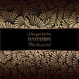 Abstract background with antique, luxury black and gold vintage frame, victorian banner, damask floral wallpaper ornaments. Invitation card, baroque style Royalty Free Stock Photos