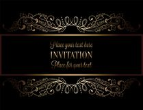 Abstract background with antique, luxury black and gold vintage frame, victorian banner, damask floral wallpaper ornaments. Invitation card, baroque style Royalty Free Stock Photo
