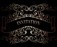Abstract background with antique, luxury black and gold vintage frame, victorian banner, damask floral wallpaper ornaments. Invitation card, baroque style Stock Photo