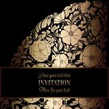 Abstract background with antique, luxury black and gold vintage frame, victorian banner, damask floral wallpaper ornaments Royalty Free Stock Photography