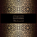 Abstract background with antique, luxury black and gold vintage frame, victorian banner, damask floral wallpaper ornaments,. Invitation card, baroque style Royalty Free Stock Photos