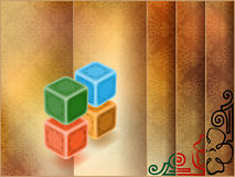 Abstract background with arabesques. Four colorful cubes in front of floral ornamental background Stock Images