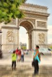 Abstract background. Arch of Triumph, Paris, France.  Blur effec. T defocusing filter applied, with vintage instagram look Royalty Free Stock Photo