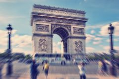 Abstract background. Arch of Triumph, Paris, France.  Blur effec. T defocusing filter applied, with vintage instagram look Stock Photos