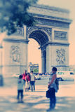 Abstract background. Arch of Triumph, Paris, France.  Blur effec. T defocusing filter applied, with vintage instagram look Royalty Free Stock Images