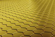 Abstract background array of gold shinny n-gons. 3d render Stock Image