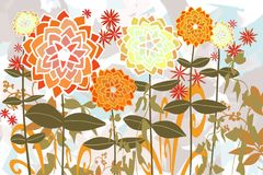 Abstract background with artistic layers of hand drawn flat flower garden for fall art background. Art hand drawing of zinnia garden in golds, greens, orange royalty free illustration