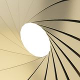 Abstract background as a golden shutter mechanism. With an empty space in the center Stock Photos