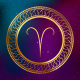 Abstract background astrology concept gold horoscope zodiac sign Aries circle frame illustration. Vector Stock Image