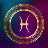 Abstract background astrology concept gold horoscope zodiac sign fish circle frame illustration Stock Image