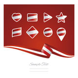 Abstract background Austria flag ribbon icon set vector Royalty Free Stock Photos