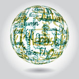 Abstract background of of autumn inscriptions in different. Languages in the form of a sphere Stock Photography