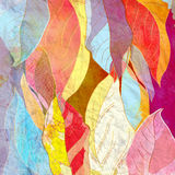Abstract background autumn leaves. Watercolor bright abstract background of colorful autumn leaves Royalty Free Stock Photo