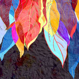 Abstract background autumn leaves. Watercolor bright abstract background of colorful autumn leaves Royalty Free Stock Photos