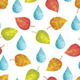 Abstract background autumn. Abstract seamless background autumn. Leaves and water drop stock illustration
