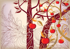 Abstract background autumn tree. With ripe apples and yellow leaves Royalty Free Illustration