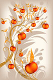 Abstract background autumn tree. With ripe apples and yellow leaves stock illustration