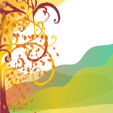 Abstract background autumn tree with yellow leaves. Greeting card with tree and place for text vector illustration