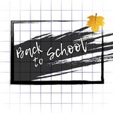 Abstract background back to school with school Board and maple leaf on notebook sheet. Vector. Illustration stock illustration