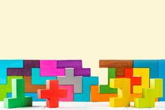 Concept of decision making process. Abstract Background. Background with different colorful shapes wooden blocks. Geometric shapes in different colors. Concept Stock Photos