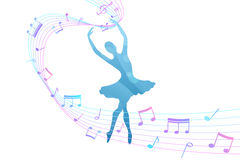 Abstract background ballerina dancing girl beautiful music notes blue pink Stock Image