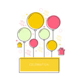 Abstract background with balloons. Gifts and geometric shapes. Place for text congratulations Stock Photo