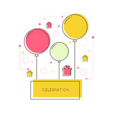 Abstract background with balloons. Gifts and geometric shapes. Place for text congratulations Royalty Free Stock Photos