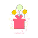 Abstract background with balloons. Gifts and geometric shapes. Place for text congratulations Stock Images