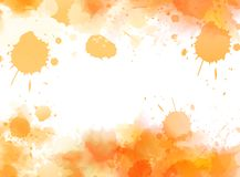 Abstract background with watercolor splashes. Abstract background banner with watercolor splashes frame. Orange colored. Template painted background for your Royalty Free Stock Photography