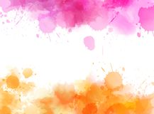 Abstract background with watercolor splashes. Abstract background banner with watercolor splashes frame. Orange and pink colored. Template painted background for Royalty Free Stock Photography
