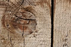 Vintage wood Board with beautiful texture, close-up, with knot element and vertical crack stock photo