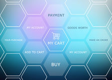 Abstract background with basket and shopping site Stock Photos