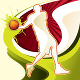 Abstract background with basketball player. Vector illustration Royalty Free Stock Photo