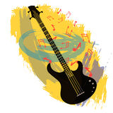 Abstract background with bass guitar.  vector illustration