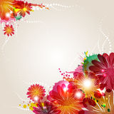 Abstract background with beauty floral elements. And blots vector illustration