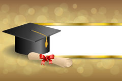 Abstract background beige education graduation cap diploma red bow gold stripes frame illustration Stock Photos