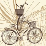 Abstract background with bicycle in vintage style. Cute vector background with bicycles for design Royalty Free Stock Photos