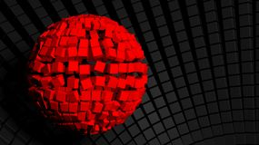 Abstract background. With big red sphere made of cubes Stock Photos