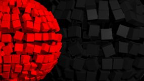 Abstract background. With big red sphere made of cubes Stock Image