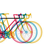 Abstract background 3 bikes in different colors on white, vector illustration for your design Stock Image