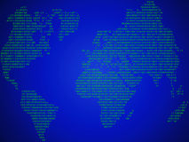 Abstract background binary. The abstract world map made in the form of binary code Stock Photo