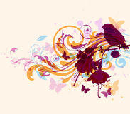 Abstract background with bird. Abstract vector background with bird and butterflies Royalty Free Illustration