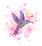 Abstract background with bird. Abstract vector background with tropical bird and pink watercolor blots Royalty Free Illustration