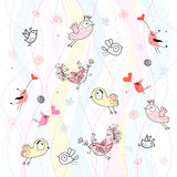 Abstract background with birds. Abstract pink and blue background with gay birds and the elements vector illustration