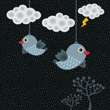 Abstract background with birds in clouds. Vector illustration Stock Images