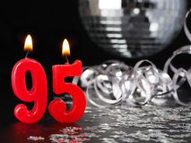 Red candles showing Nr. 95. Abstract Background for birthday or anniversary party Royalty Free Stock Images